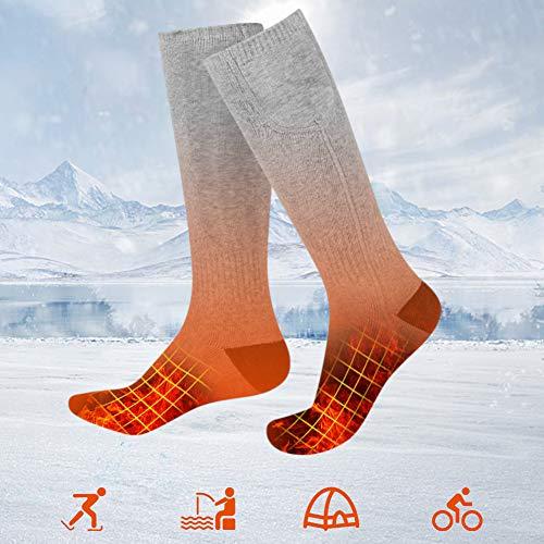 JNUYISW Chaussettes chauffantes pour Hommes Femmes, Chaussettes chauffantes à Piles améliorées avec 2200Mah pour la Chasse Camping randonnée équitation Cyclisme (Gris)