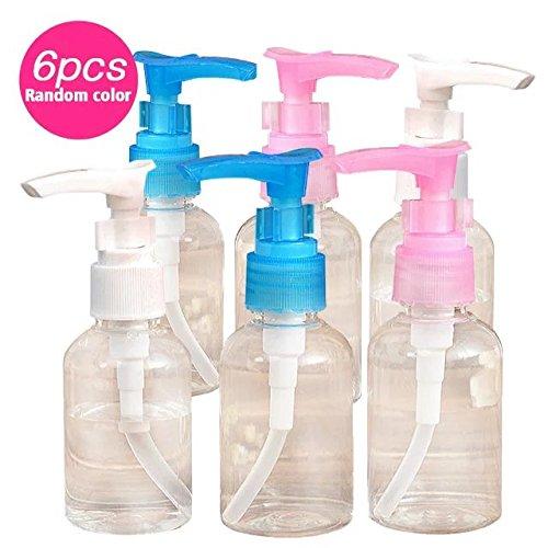 Brendacosmetic Pack of 6-50Ml Longh Mouth Pump Bottle Empty Cosmetics Bottle Travel bottle-50Ml for Bottling Emulsion,Shampoo or Body Wash (Randomly Color)