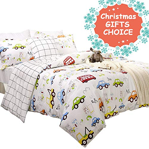 Toddler Bedding Sets for Boys Cars Vehicles Duvet Cover Set 3-Piece Full Size (No Comforter Included)