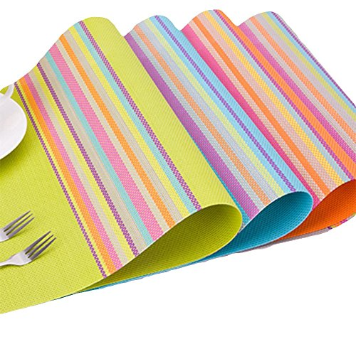 Da.Wa 4 Paragraphe Striped napperon PVC vaisselle Western coussinets d'isolation