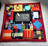 """Fidget Quilt Handmade in the U.S.A. for People with Memory Loss. Alzheimer's Blanket and Dementia Toy. Multi-Colored Fabrics & Fidgets with Nautical Design. Size: 21"""" x 21"""""""