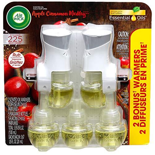 Air Wick Kit de aceites aromáticos (2 calentadores + 5 recambios) manzana canela Medley, ambientador con aceites esenciales