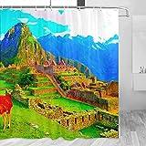 Peru Machu Picchu Cortina de Ducha Viaje Decoración de Baño Set Con Ganchos Poliéster 72x72inch (YL-04630)