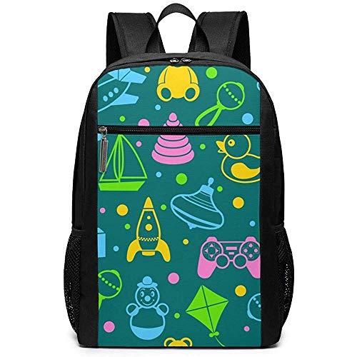Yuanmeiju Cartoon Children's Toys Unisex Custom Shoulder Bags,Adult Student Double Zipper Closure Casual Daypack