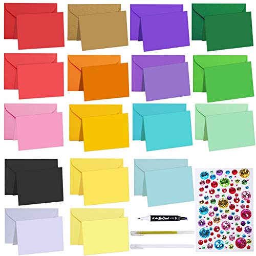 108 Sets Colorful #17 Mini Envelopes Coin Envelopes with Blank Folded Cards 18 Colors Small Notecards Quick Thank You Note Lunchbox Note Gift Tags Place Cards for Wedding Party Baby Shower Greeting