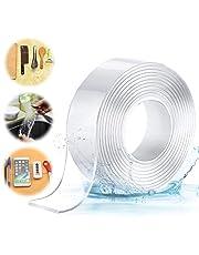 Jeteven Wasbaar streeploos plakband, nano-dubbelzijdig plakband, transparant, verwijderbare herbruikbare plakstrip, extra sterke kleefkracht, waterdicht, antislip, multifunctioneel
