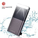 Luxtude 20000mAh Waterproof Portable Charger, Built-in Strong LED Camping Light Power Bank, Dual USB 4.8A [Shock/Dust Proof] Outdoor External Batteries Compatible iPhone, iPad, Samsung Galaxy - Black