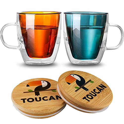 Double Wall Glass Coffee Mugs 12 oz Set of 2 Insulated Cappuccino Cups with Handles and Wooden Lids Coasters for Espresso, Latte, Ice Tea, Americano