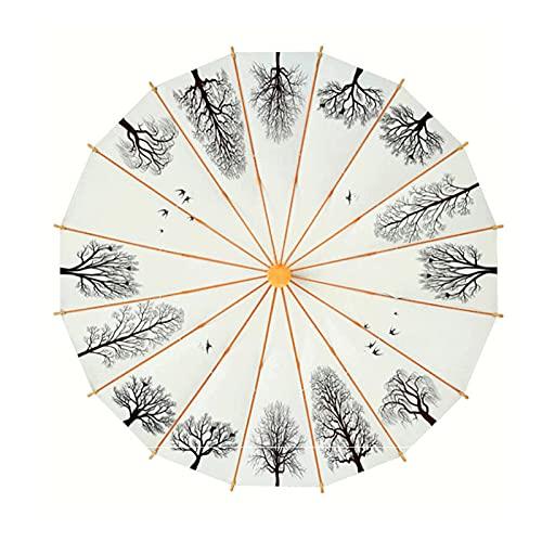 Paraguas Retro de 16 Huesos Art Wind Abedul Bosque a Prueba de Viento Hombres y Mujeres Paraguas Doble Paraguas Recto, Equipaje