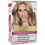 L'Oréal Paris Excellence Crema Colorante Triplo Trattamento Avanzato, 8.1 Biondo Chiaro Cenere