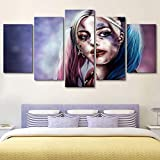 ganlanshu Niña Payaso Cuadro En Lienzo para Sala de Estar Cuadros Decorativos y pósters Arte de pared40x60cmx2, 40x80cmx2, 40x100cmx1Pintura sin Marco