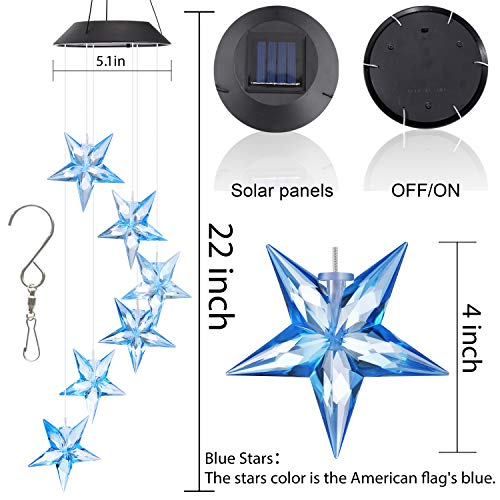 Topspeeder Color Changing Wind Chime Blue Star LED Wind Chime Wind Mobile Portable Waterproof Outdoor Decorative Romantic Wind Bell Light for Patio Yard Garden Home
