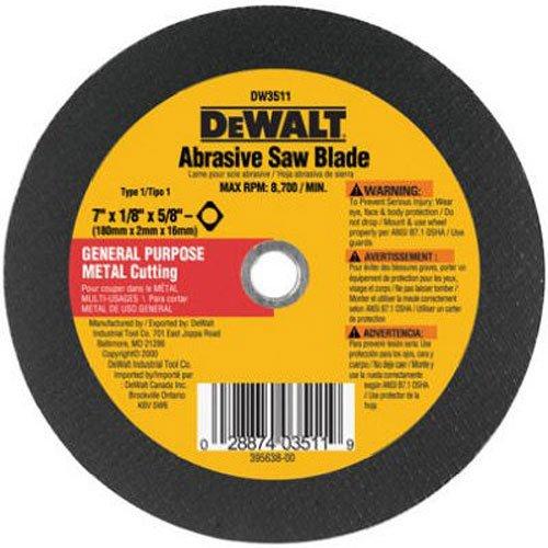 DEWALT DW3511 7-Inch X 1/8-Inch Metal Abrasive Blade,Black