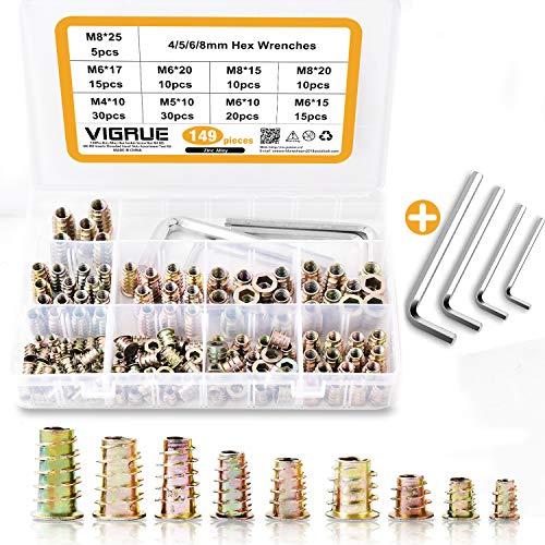 VIGRUE 149Stück M4 M5 M6 M8 ZINK AllOY Möbel Hex Antriebsmutter Möbel Hex Antriebskopf Mutter Gewinde Kit Möbel Bolt Fastener Connector für Holzmöbel