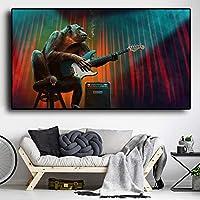 抽象ゴリラキャンバス絵画壁アート喫煙猿ギターを弾く動物のポスターとリビングルームの家の装飾のためのプリント-60x100cmフレームなし