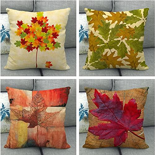 JOVEGSRVA Juego de 4 fundas de almohada decorativas de hoja de arce rojo de 45 cm x 45 cm, fundas de almohada para sala de estar, sofá cama