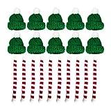 Amosfun Mini-Strickmütze, Schal, Weihnachtsbaum-Ornamente, Miniatur-Accessoires, Basteln, niedliche...
