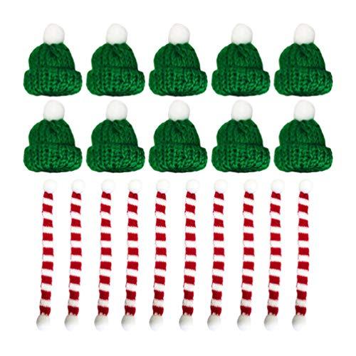 Amosfun - 20 mini bufandas de punto para árbol de Navidad en miniatura, accesorios para el pelo, manualidades, adorno de muñeca, sombrero, joyería 23 * 1CM Green Hat Red Scarf