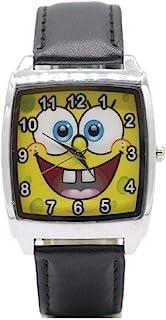 Spongebob Squarepants Logo Black Square Genuine Leather Band Wrist Watch