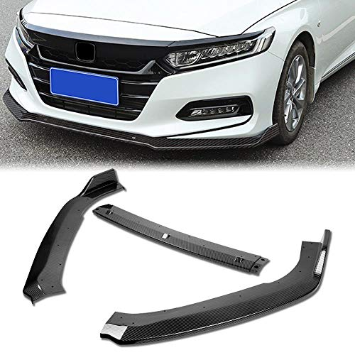 Stay Tuned Performance PU/629/PCF Carbon Fiber Print Front Bumper Body Kit Lip 3PCS Compaitble with 2018&Up Accord 4DR Sedan Only