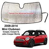 YelloPro Custom Fit Front Windshield Reflective Sunshade for 2008 2009 2010 2011 2012 2013 2014 Mini Clubman Cooper, Cooper S, John Cooper Works, Sun Shade Protector Accessories [Made in USA]
