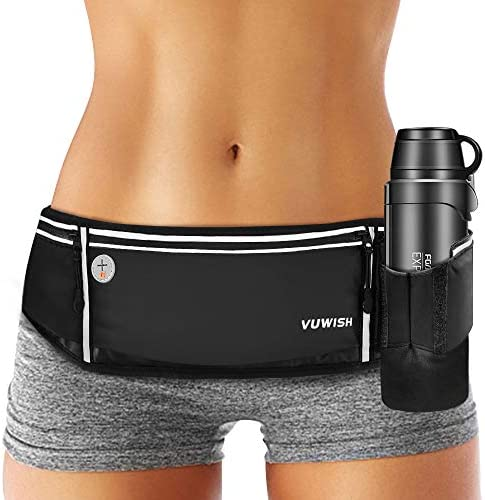VUWISH Running Belt Fanny Pack Adjustable Running Waist Pack Bag with Foldable Water Bottle product image