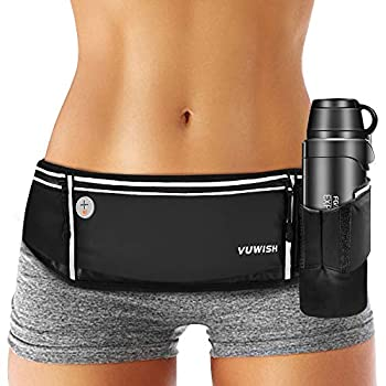 VUWISH Running Belt Fanny Pack Adjustable Running Waist Pack Bag with Foldable Water Bottle Holder Unisex Sport Pouch Belt for Fitness Jogging Hiking Travel,Cell Phone Holder Fits All Phones iPhone