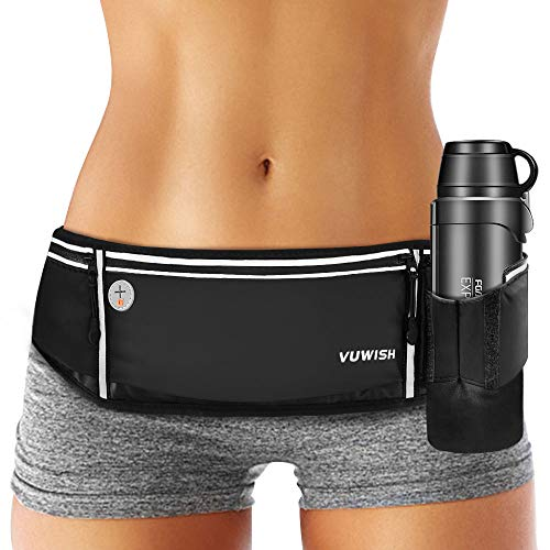 VUWISH Running Belt Fanny Pack, Adjustable Running Waist Pack Bag with Foldable Water Bottle Holder, Unisex Sport Pouch Belt for Fitness Jogging Hiking Travel,Cell Phone Holder Fits All Phones iPhone