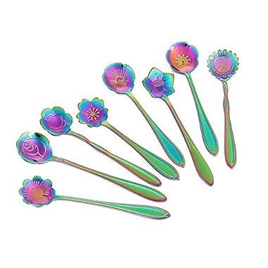 Flower Spoon Set, niceEshop(TM)Stainless Steel Teaspoon Colorful Coffee Spoon Tea Spoon Mixing Spoon Sugar Spoon, Set of 8, Rainbow