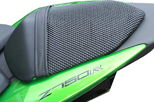 Triboseat Anti Slip Motorcycle Passenger Seat Cover Black Accessory Compatible With Kawasaki ZX6R 2007-2008