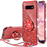 OCYCLONE Galaxy S10 Case, Glitter Luxury Cute Phone Case for Women Girls with Kickstand, Bling Diamond Rhinestone Bumper with Ring Stand Compatible with Galaxy S10 Case for Girl Women - Red