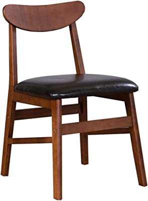 LJFYXZ Dining Chairs Arc backrest Retro Lounge Chairs Buffer PU Cushion Solid Wood Dining Table and Chairs Bearing Weight 150kg Suitable for Adults (Color : Black)