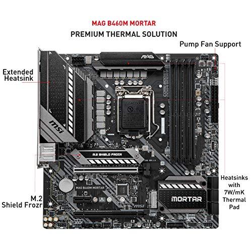 MSI MAG B460M Mortar Gaming Motherboard (mATX, Intel Core 10, LGA 1200 Socket, DDR4, CFX, Dual M.2 Slots, USB 3.2 Gen 1, 2.5G LAN, DP/HDMI)