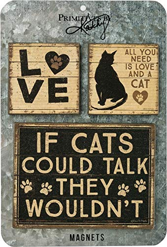 Primitives by Kathy Rustic Style Magnets, Set of 3, All You Need is Love and a Cat