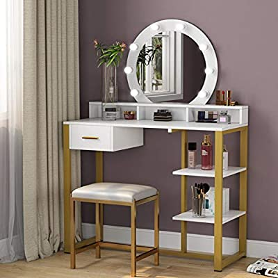 Tribesigns Gold Vanity Table with Lighted Mirror and Drawer, Makeup Vanity Dressing Table with 8 Lights and Two Shelves for Women, Dresser Desk Vanity Set for Bedroom, Gold and White