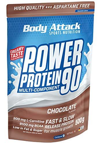 Body Attack Power Protein 90, Chocolate Cream, 500g, 5K Eiweißpulver mit Whey-Protein, L-Carnitin und BCAA für Muskelaufbau und Fitness