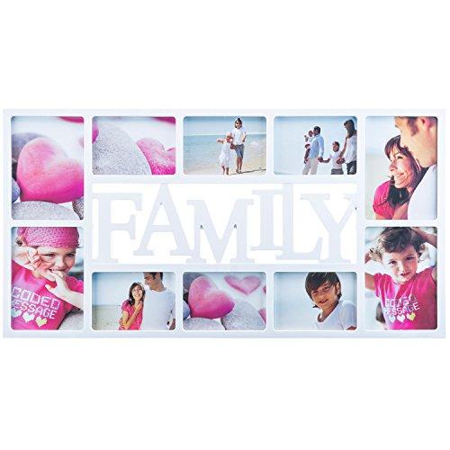 Bilderrahmen - XXL Fotorahmen Bildergalerie Foto-Collage; Galerierahmen mit Echt-Glas für Hochwertige und exzellente darstellung (Family XXL - Weiß)