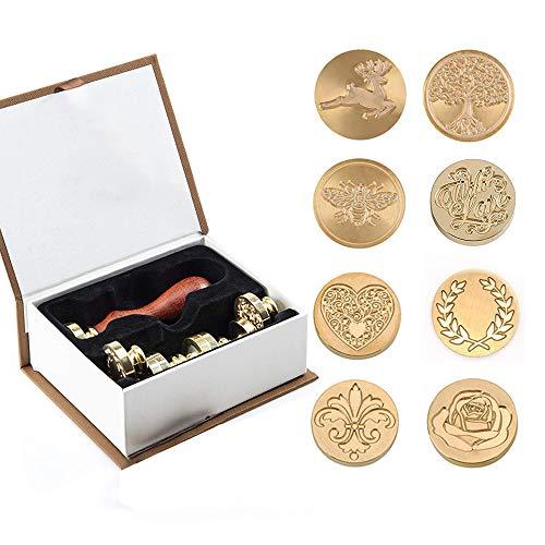 Wachs Stempel Set, 8 Wachssiegel Stempel Messing Köpfe und 1 Holzgriff Vintage selbstklebende Siegellack Stempel Kit Geschenk für Umschlag Postkarte Label Hochzeitseinladung (8pcs)