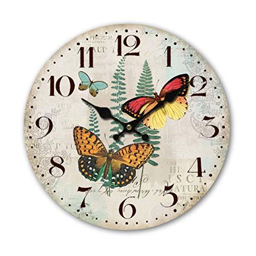 Reloj de pared redondo de madera MDF de 34 cm, mariposa, jardín, naturaleza, tres mariposas, naranja, azul, rojo, amarillo, verde, planta, salón, dormitorio y cocina, multicolor estilo vintage