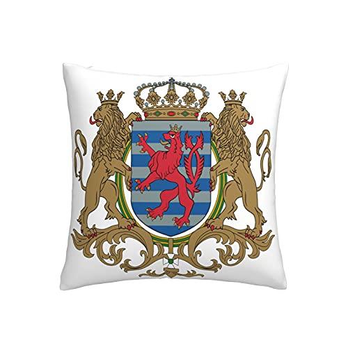 Coat of arms Gran Ducado de Luxemburgo Funda de cojín cuadrada decorativa para sofá, hogar, dormitorio, interior y exterior, funda de almohada de 45,7 x 45,7 cm