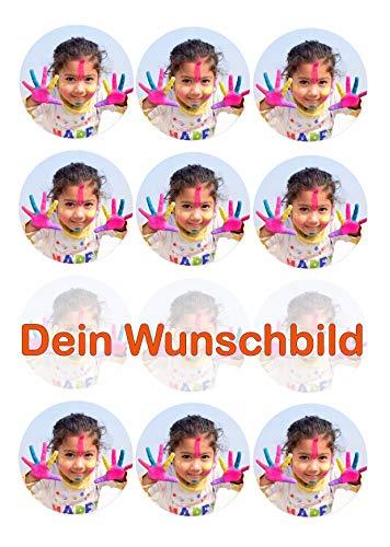 12 Muffinaufleger ca. 6 cm zum selbst ausscheiden mit Wunschbild, Cupcakes Muffinsbild Geburtstag Fondant 0215W