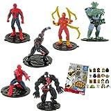 Comansi Lote 6 Figuras Marvel Ultimate Spiderman - Spiderman agachado y de pie - Miles Morales - Iron Spiderman - Venom - Duende Verde + Regalo