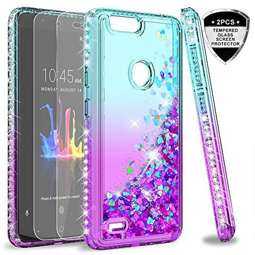 ZTE Blade ZMax Case, Blade ZMax Pro 2 / Sequoia case with Tempered Glass Screen Protector for Girls Women, LeYi Bling Liquid Quicksand Glitter Phone Case for ZTE Z982 ZX Teal/Purple