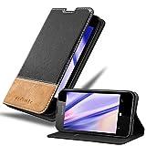 Cadorabo Hülle für Nokia Lumia 550 in SCHWARZ BRAUN – Handyhülle mit Magnetverschluss, Standfunktion & Kartenfach – Hülle Cover Schutzhülle Etui Tasche Book Klapp Style