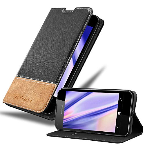 Cadorabo Hülle für Nokia Lumia 550 - Hülle in SCHWARZ BRAUN – Handyhülle mit Standfunktion und Kartenfach aus Einer Kunstlederkombi - Case Cover Schutzhülle Etui Tasche Book