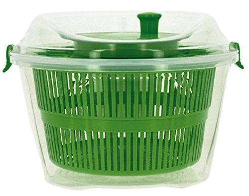 Util'Home 5040400 Salatschleuder, Kunststoff, 24x17cm, Transparent mit Korb in Grün/Rot/Violett
