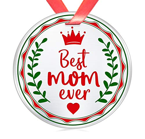 Elegant Chef Christmas Ornament Gift for Mother- Best Mom Ever- Xmas Holidays Celebration Decoration Gift for Mommy- Festival Collectible Keepsake- 3 inch Flat Stainless Steel