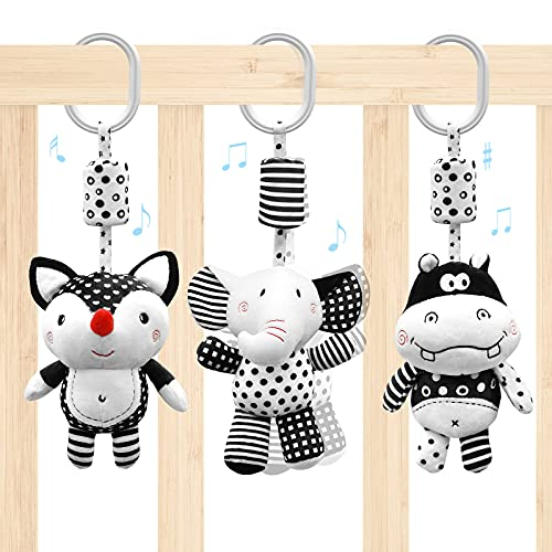 Euyecety Infant Toys Newborn Toys Black and White Baby Toys, Car Seat Toys Stroller Toys Hanging Rattle Toys with Wind Chimes, Baby Girls Boys Toys, for 0 3 6 9 12 Months (3 Packs)