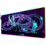 RGB Gaming Mouse Pad for kda Akali Dragon neon, LED Soft Extra Extended Large Mouse Pad,Anti-Slip Rubber Base,Computer Keyboard Mouse Mat 31.5 X 12 Inch