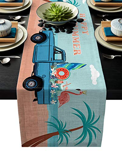 ABCrazy Dining Table Runner 13 x 90inch, Truck with Flamingo Flower Durable Table Covers Decoration for Family Dinner Kitchen Patios Coffee Table Everyday Use Tablecovers Beach Landscape